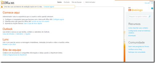 Figura 5 – Porlal Office 365, visualização usuário logado
