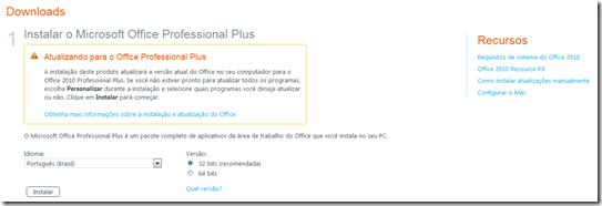 Figura 6 – Página de downloads no Portal Office 365