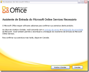 Figura 8 – Wizard de aviso para instalar assistente de entrada Online Services