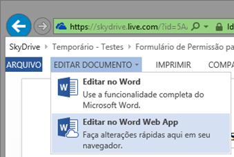 Editando com Word Web App