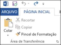 Word - Pagina_Inicial - Area de Transferencia