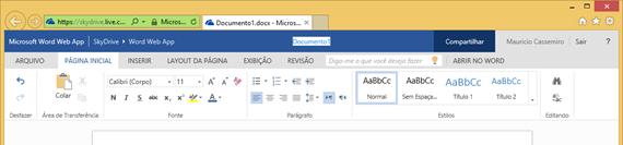 Começando a renomear um arquivo no Word Web App