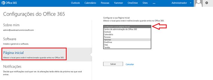 Configurar Página Inicial – Office 365 (3/3)